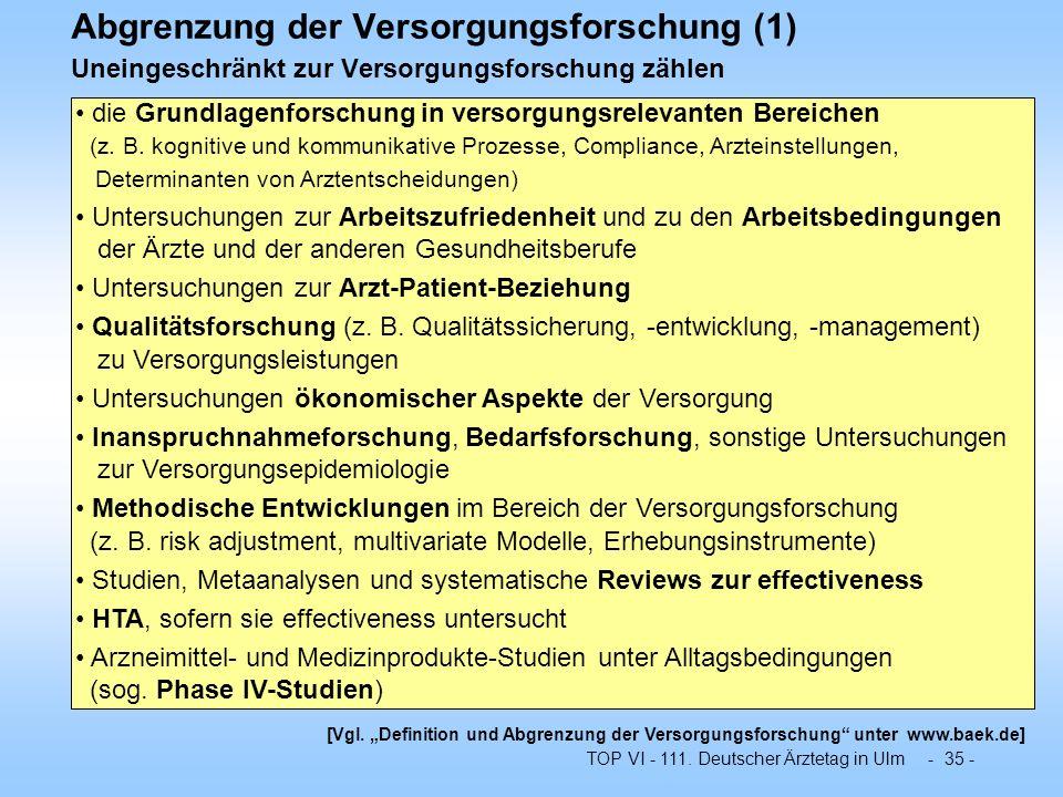 TOP VI - 111. Deutscher Ärztetag in Ulm - 35 - Abgrenzung der Versorgungsforschung (1) Uneingeschränkt zur Versorgungsforschung zählen die Grundlagenf