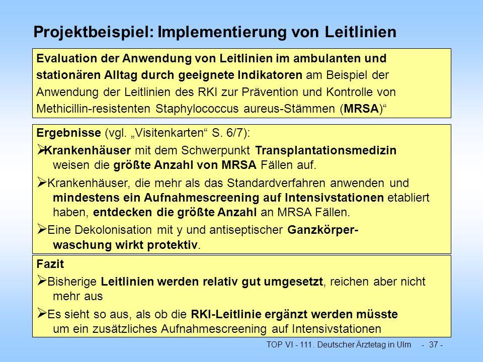 TOP VI - 111. Deutscher Ärztetag in Ulm - 37 - Projektbeispiel: Implementierung von Leitlinien Evaluation der Anwendung von Leitlinien im ambulanten u
