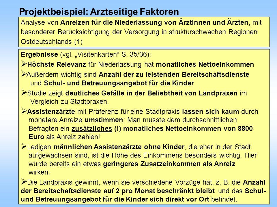 TOP VI - 111. Deutscher Ärztetag in Ulm - 40 - Projektbeispiel: Arztseitige Faktoren Ergebnisse (vgl. Visitenkarten S. 35/36): Höchste Relevanz für Ni