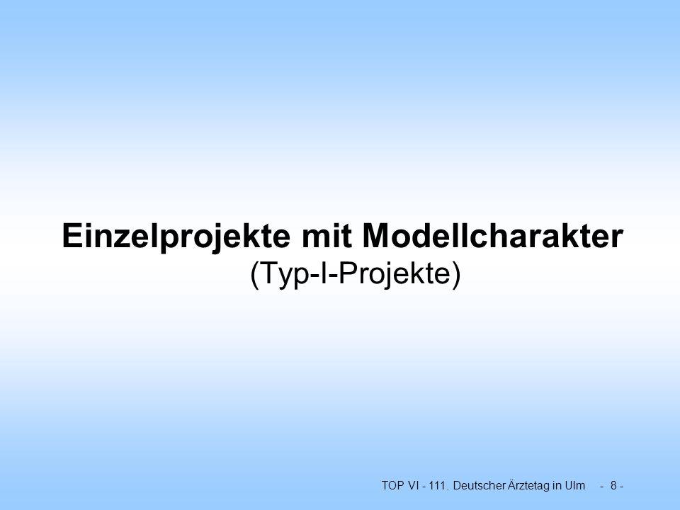 TOP VI - 111. Deutscher Ärztetag in Ulm - 8 - Einzelprojekte mit Modellcharakter (Typ-I-Projekte)