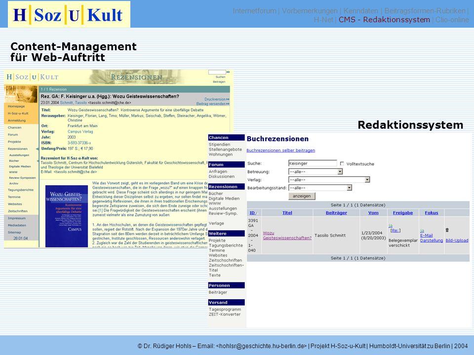 Redaktionssystem H Soz U Kult © Dr. Rüdiger Hohls – Email: | Projekt H-Soz-u-Kult | Humboldt-Universität zu Berlin | 2004 Content-Management für Web-A