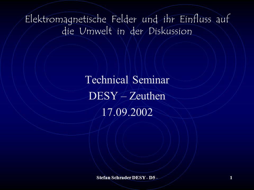 Stefan Schrader DESY - D5 -41 Elektromagnetische Felder und ihr Einfluss auf die Umwelt in der Diskussion Was messen wir überhaupt im Vergleich zu den zulässigen Werten der Vorschriften ??.