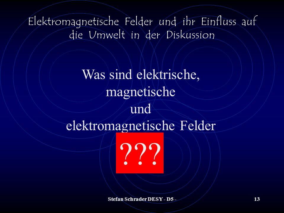 Stefan Schrader DESY - D5 -12 Elektromagnetische Felder und ihr Einfluss auf die Umwelt in der Diskussion