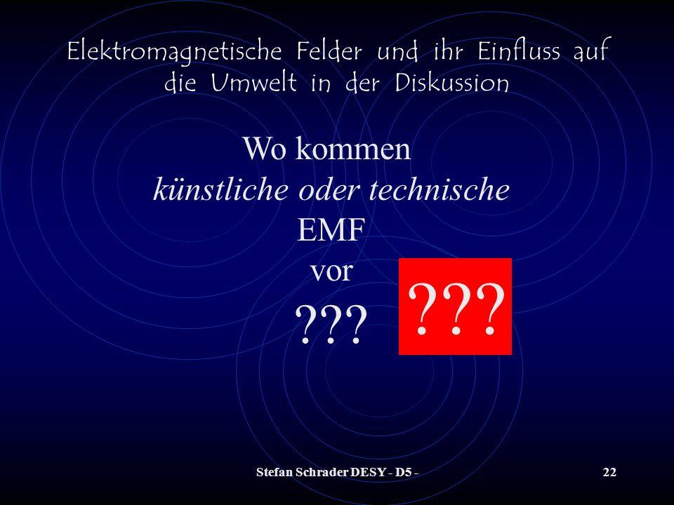 Stefan Schrader DESY - D5 -21 Elektromagnetische Felder und ihr Einfluss auf die Umwelt in der Diskussion Die Eigenschaften elektromagnetischer Felder