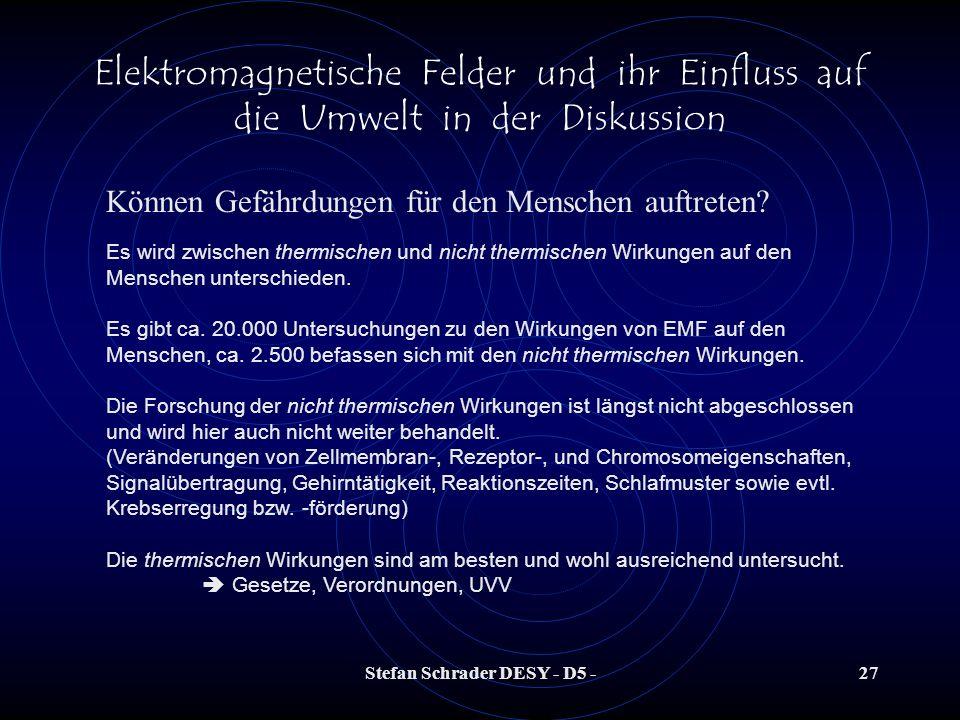 Stefan Schrader DESY - D5 -26 Elektromagnetische Felder und ihr Einfluss auf die Umwelt in der Diskussion Der menschliche Körper im EMF Das elektrisch