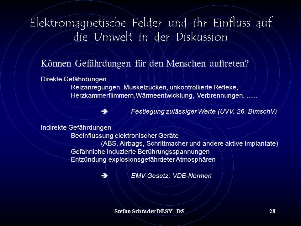 Stefan Schrader DESY - D5 -27 Elektromagnetische Felder und ihr Einfluss auf die Umwelt in der Diskussion Können Gefährdungen für den Menschen auftret