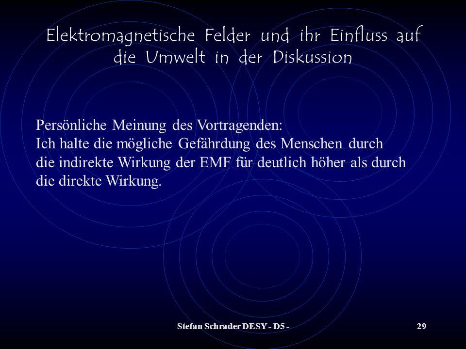 Stefan Schrader DESY - D5 -28 Elektromagnetische Felder und ihr Einfluss auf die Umwelt in der Diskussion Können Gefährdungen für den Menschen auftret