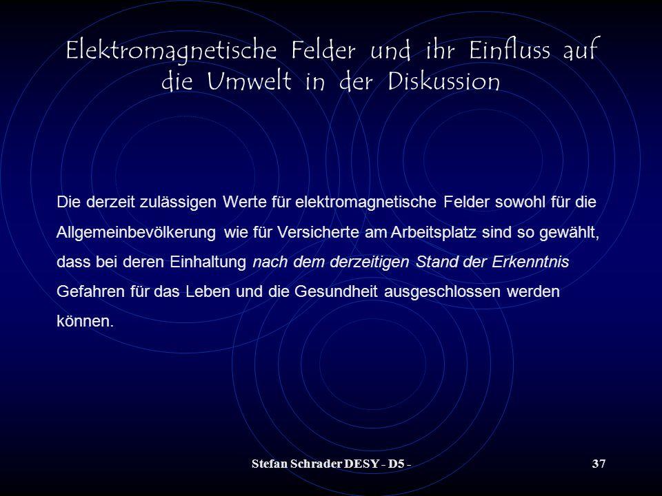 Stefan Schrader DESY - D5 -36 Elektromagnetische Felder und ihr Einfluss auf die Umwelt in der Diskussion Quelle: Elektrosmogseite von Ralf Dieter Wöl