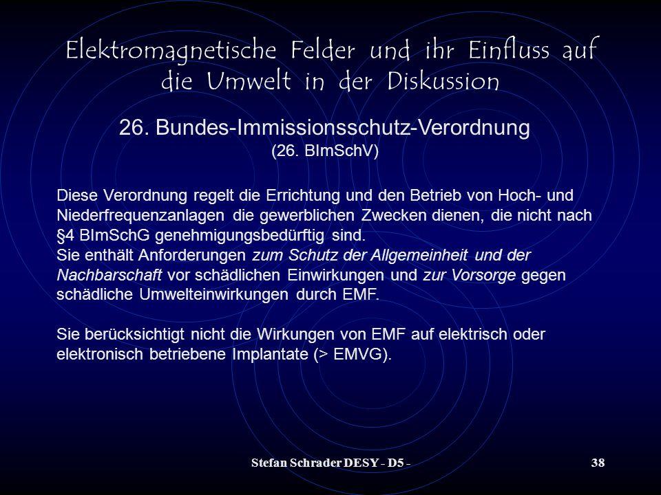 Stefan Schrader DESY - D5 -37 Elektromagnetische Felder und ihr Einfluss auf die Umwelt in der Diskussion Die derzeit zulässigen Werte für elektromagn