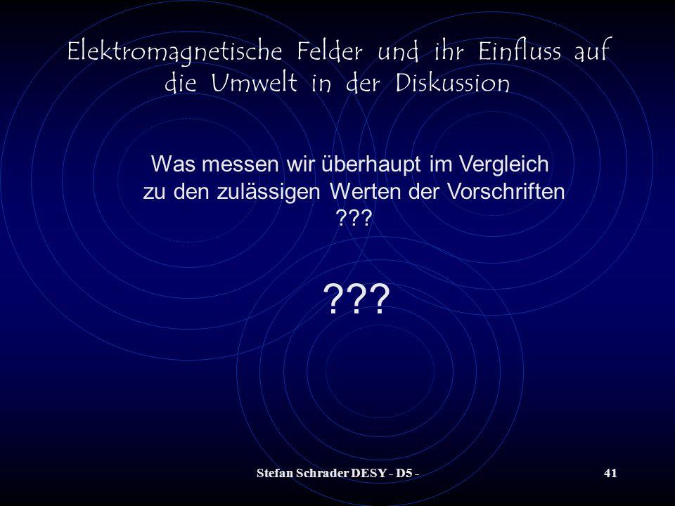 Stefan Schrader DESY - D5 -40 Elektromagnetische Felder und ihr Einfluss auf die Umwelt in der Diskussion Berufsgenossenschaftliche Vorschrift, bzw. R