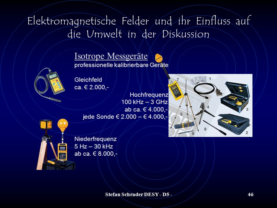 Stefan Schrader DESY - D5 -45 Elektromagnetische Felder und ihr Einfluss auf die Umwelt in der Diskussion EMF selber messen?? z.B. Conrad-Elektronik K