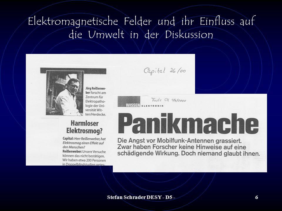 Stefan Schrader DESY - D5 -16 Elektromagnetische Felder und ihr Einfluss auf die Umwelt in der Diskussion Quelle: El.