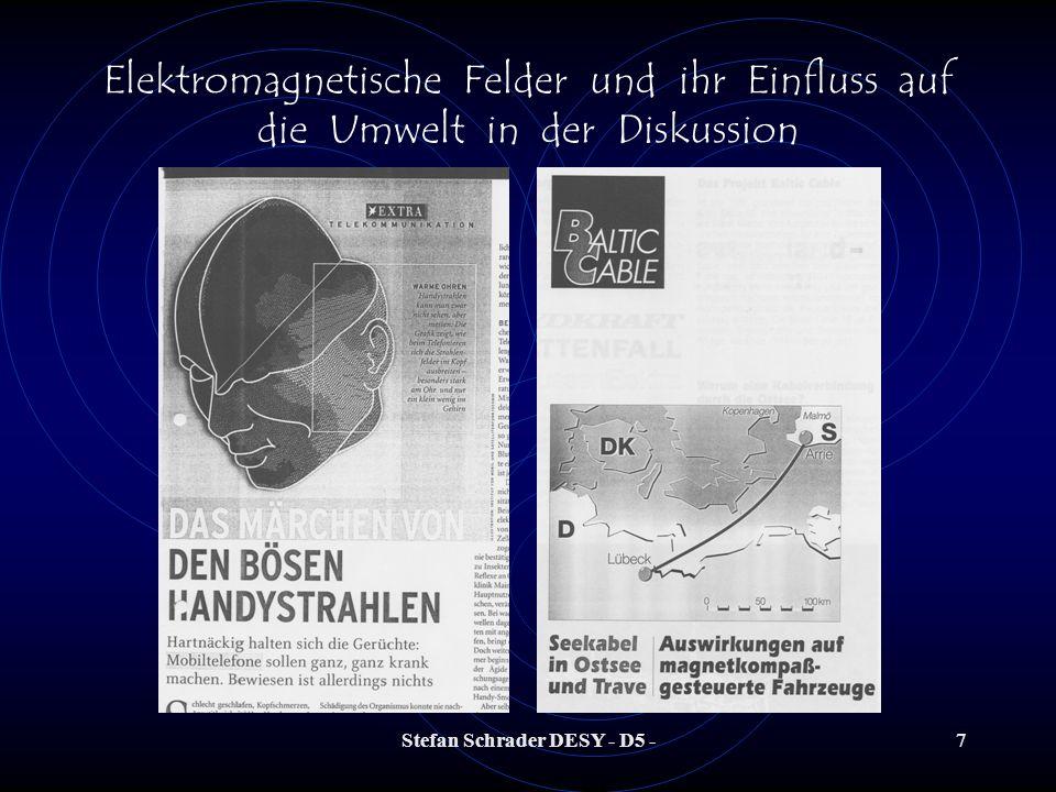 Stefan Schrader DESY - D5 -27 Elektromagnetische Felder und ihr Einfluss auf die Umwelt in der Diskussion Können Gefährdungen für den Menschen auftreten.
