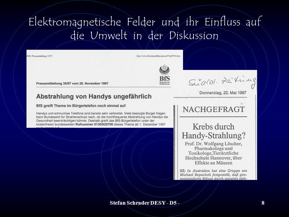 Stefan Schrader DESY - D5 -48 Elektromagnetische Felder und ihr Einfluss auf die Umwelt in der Diskussion Einige (wenige) Links (pro und contra): www.quarks.deBegleithefteRisiko Elektrosmog.