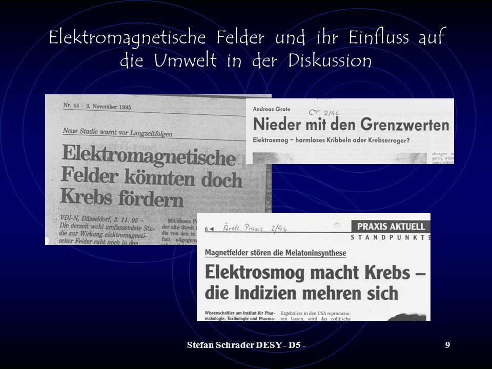 Stefan Schrader DESY - D5 -19 Elektromagnetische Felder und ihr Einfluss auf die Umwelt in der Diskussion Das elektrische Feld wird durch eine Spannung erzeugt (Potentialunterschied).