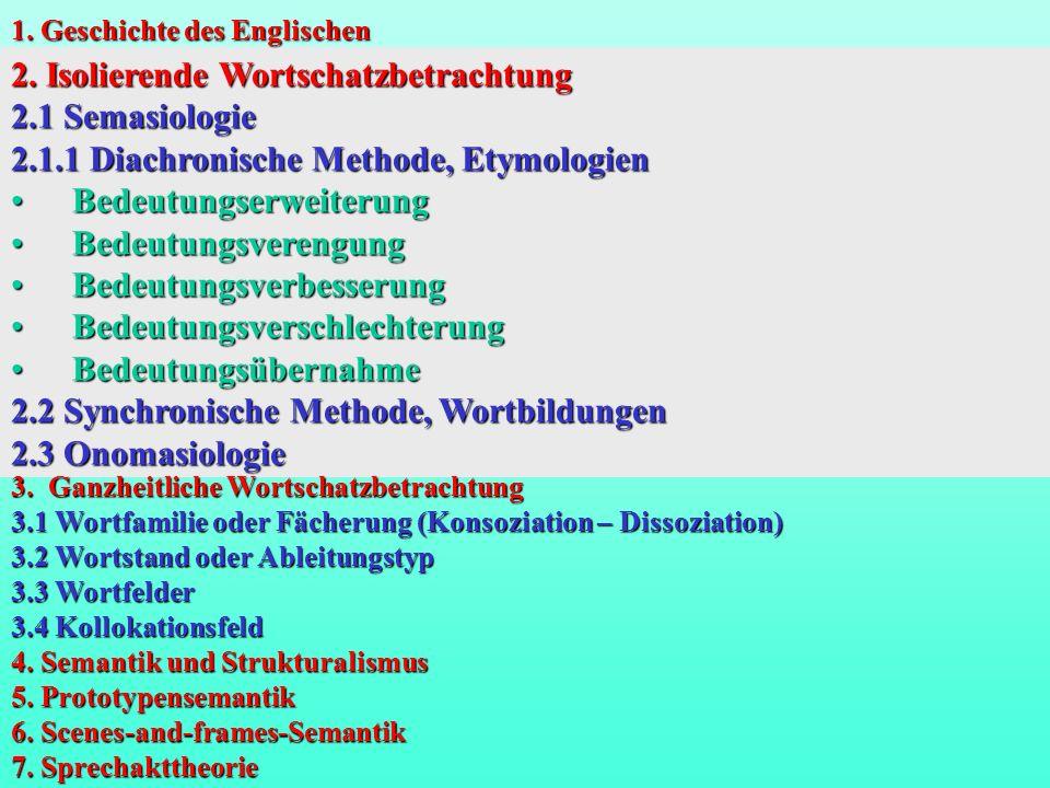 2. Isolierende Wortschatzbetrachtung 2.1 Semasiologie 2.1.1 Diachronische Methode, Etymologien Bedeutungserweiterung Bedeutungserweiterung Bedeutungsv