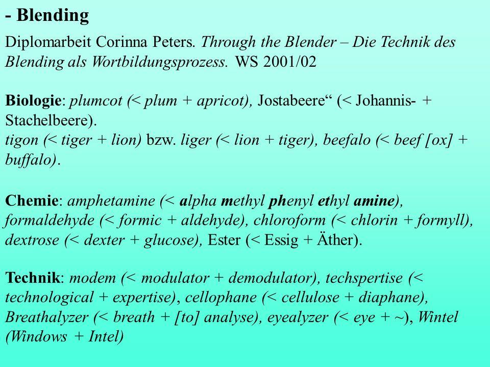 Typen von Blends Blends mit Überschneidung (Overlapping) alcoholiday (< alcohol + holiday), Sportugal (< Sport + Portugal), sexpert (< sex + expert), blandscape (< bland + landscape), in/ anticipating (< infant + anticipating), telegenial (< telegen + genial); Betrugschluss (< Betrug + Trugschluss), Kurlaub (< Kur + Urlaub), patridiot (< patriot + idiot), cinemenace (< cinema + menace), million- heiress (< millionairess + heiress), Essthet (< essen + Ästhet), Senf- onie (< Senf + Sinfonie), Behürden (< Behöِrden + Hürden), faction (<fact + fiction), Aschenblِödel (< Aschenbrِödel + Blöِdel) (en.