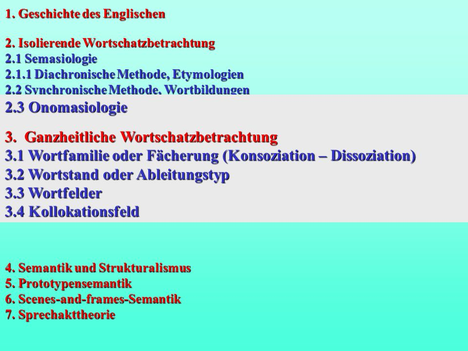 2.3 Onomasiologie Roget´s Thesaurus (Abstract Relations, Space, Matter, Intellect, Volitions, Affections); Wehrle-Eggers (Schlessing); Dornseiff 3.