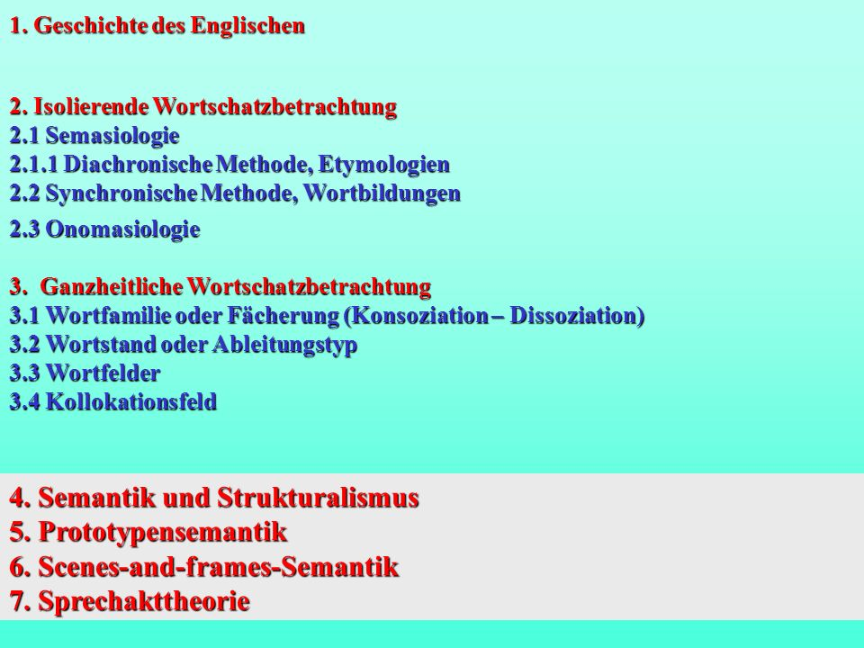 4.Semantik und Strukturalismus 1. Nicht individuelle Sprechakte, sondern Sprachsysteme.