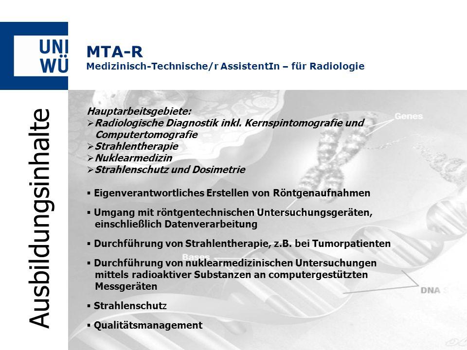 Hauptarbeitsgebiete: Radiologische Diagnostik inkl. Kernspintomografie und Computertomografie Strahlentherapie Nuklearmedizin Strahlenschutz und Dosim