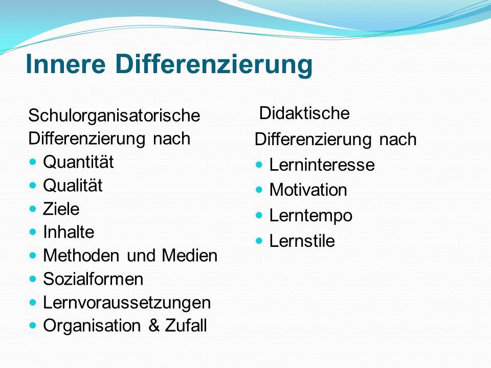 Innere Differenzierung Schulorganisatorische Differenzierung nach Quantität Qualität Ziele Inhalte Methoden und Medien Sozialformen Lernvoraussetzunge