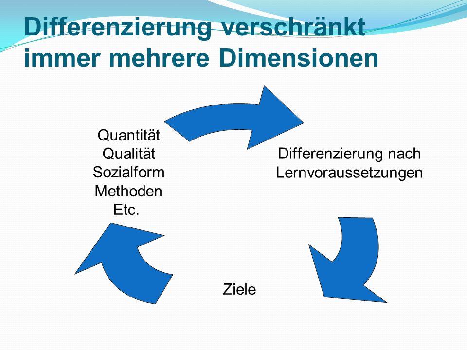 Differenzierung verschränkt immer mehrere Dimensionen Differenzierung nach Lernvoraussetzungen Ziele Quantität Qualität Sozialform Methoden Etc.