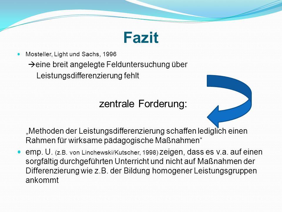 Fazit Mosteller, Light und Sachs, 1996 eine breit angelegte Felduntersuchung über Leistungsdifferenzierung fehlt zentrale Forderung: Methoden der Leis