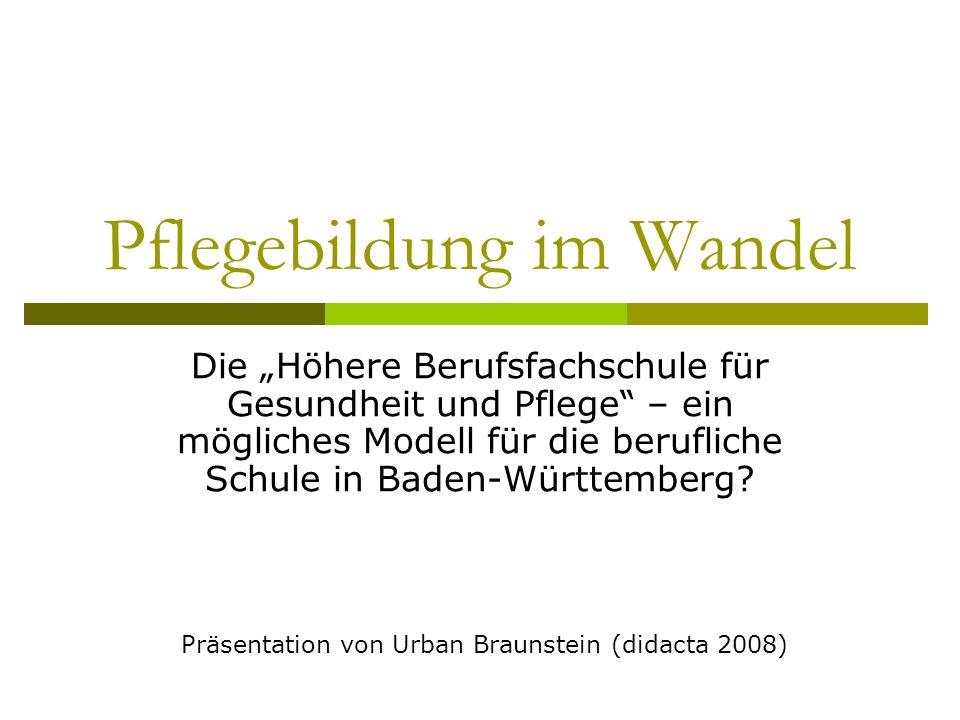 Pflegebildung im Wandel Die Höhere Berufsfachschule für Gesundheit und Pflege – ein mögliches Modell für die berufliche Schule in Baden-Württemberg? P