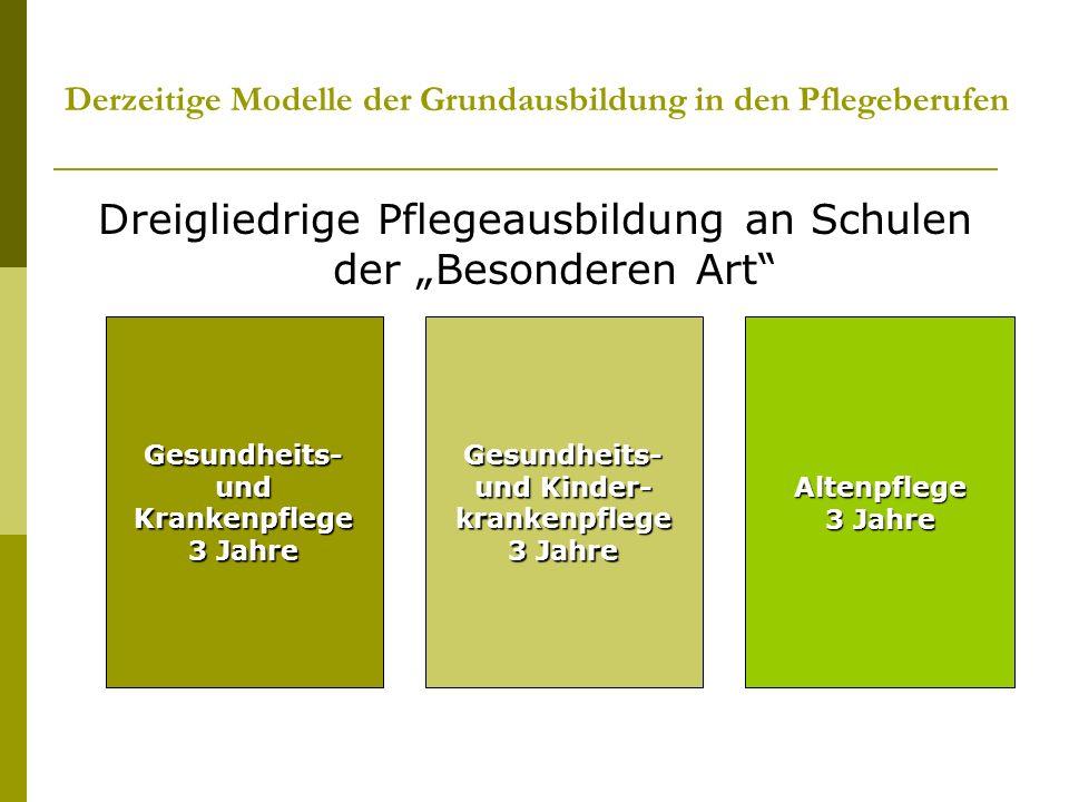 Derzeitige Modelle der Grundausbildung in den Pflegeberufen Dreigliedrige Pflegeausbildung an Schulen der Besonderen Art Gesundheits- und Krankenpfleg