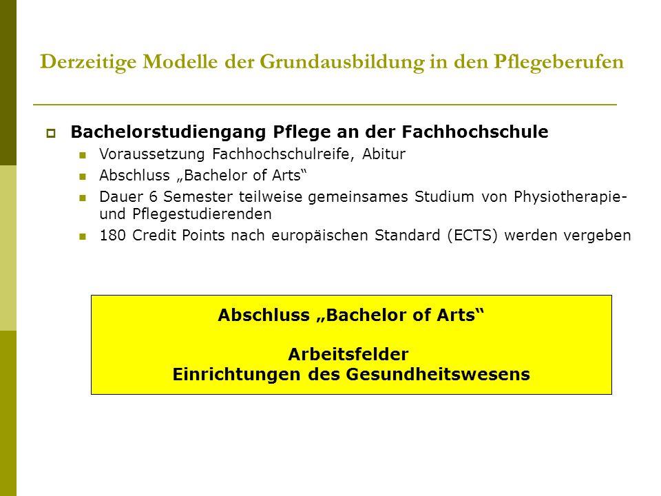 Derzeitige Modelle der Grundausbildung in den Pflegeberufen Bachelorstudiengang Pflege an der Fachhochschule Voraussetzung Fachhochschulreife, Abitur