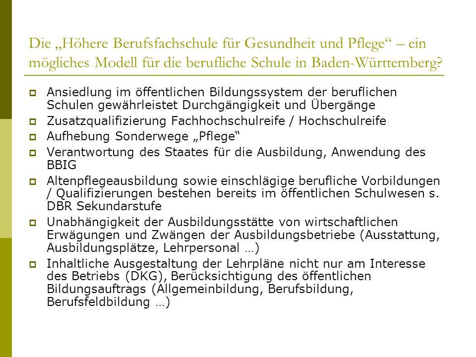 Die Höhere Berufsfachschule für Gesundheit und Pflege – ein mögliches Modell für die berufliche Schule in Baden-Württemberg? Ansiedlung im öffentliche