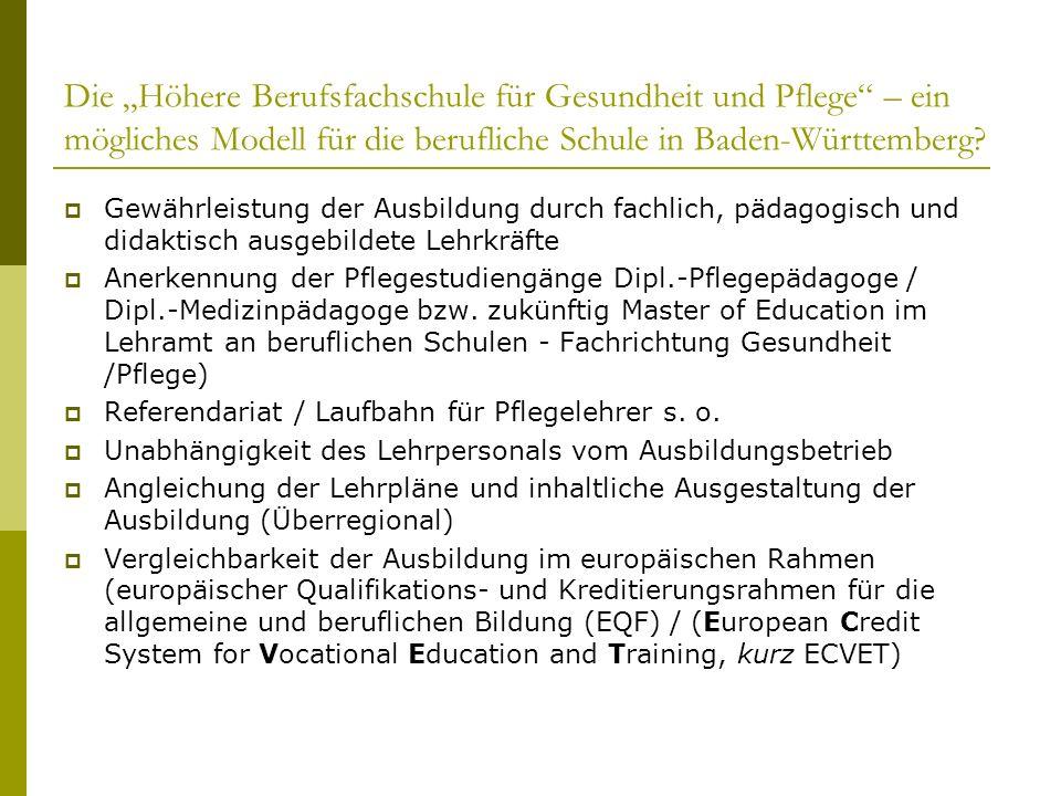 Die Höhere Berufsfachschule für Gesundheit und Pflege – ein mögliches Modell für die berufliche Schule in Baden-Württemberg? Gewährleistung der Ausbil
