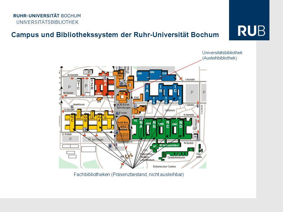 U UNIVERSITÄTSBIBLIOTHEK Campus und Bibliothekssystem der Ruhr-Universität Bochum Universitätsbibliothek (Ausleihbibliothek) Fachbibliotheken (Präsenzbestand, nicht ausleihbar)