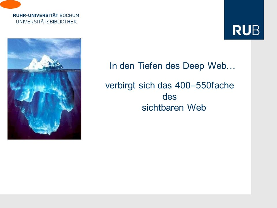 U verbirgt sich das 400–550fache des sichtbaren Web In den Tiefen des Deep Web…