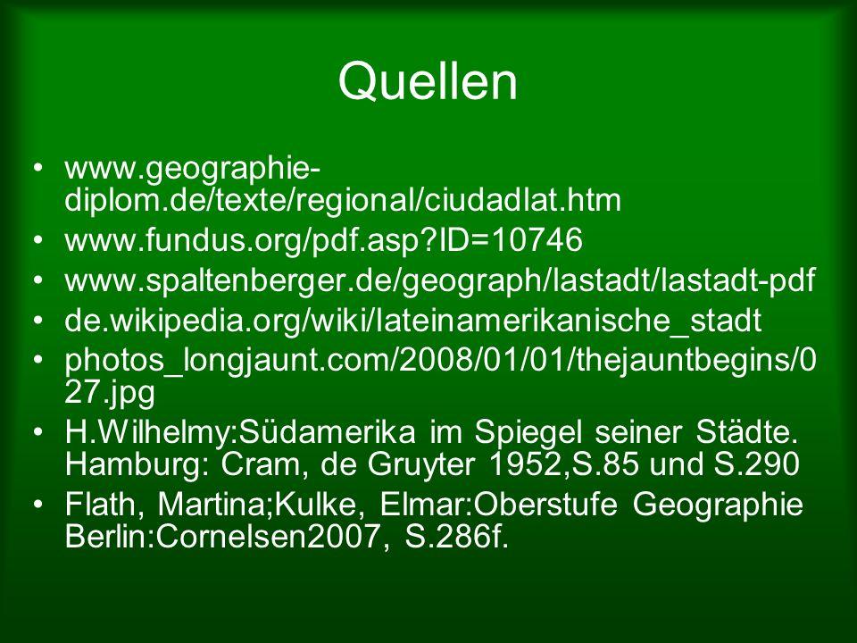 Quellen www.geographie- diplom.de/texte/regional/ciudadlat.htm www.fundus.org/pdf.asp?ID=10746 www.spaltenberger.de/geograph/lastadt/lastadt-pdf de.wi