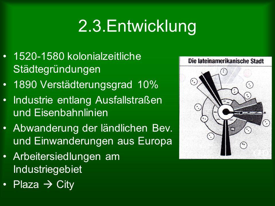 2.3.Entwicklung 1520-1580 kolonialzeitliche Städtegründungen 1890 Verstädterungsgrad 10% Industrie entlang Ausfallstraßen und Eisenbahnlinien Abwander