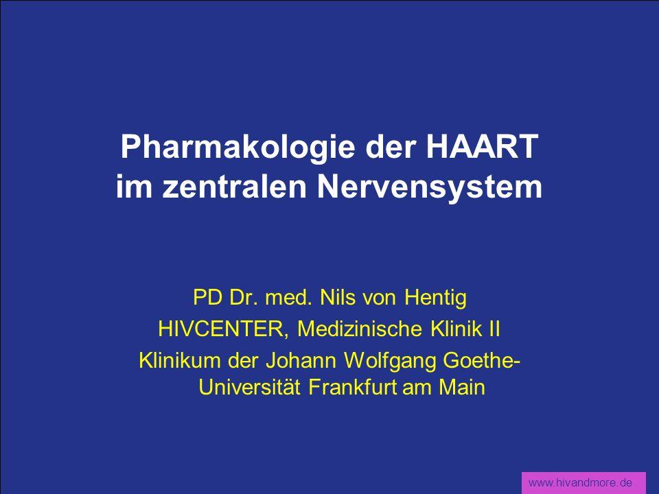 www.hivandmore.de Pharmakologie der HAART im zentralen Nervensystem PD Dr. med. Nils von Hentig HIVCENTER, Medizinische Klinik II Klinikum der Johann