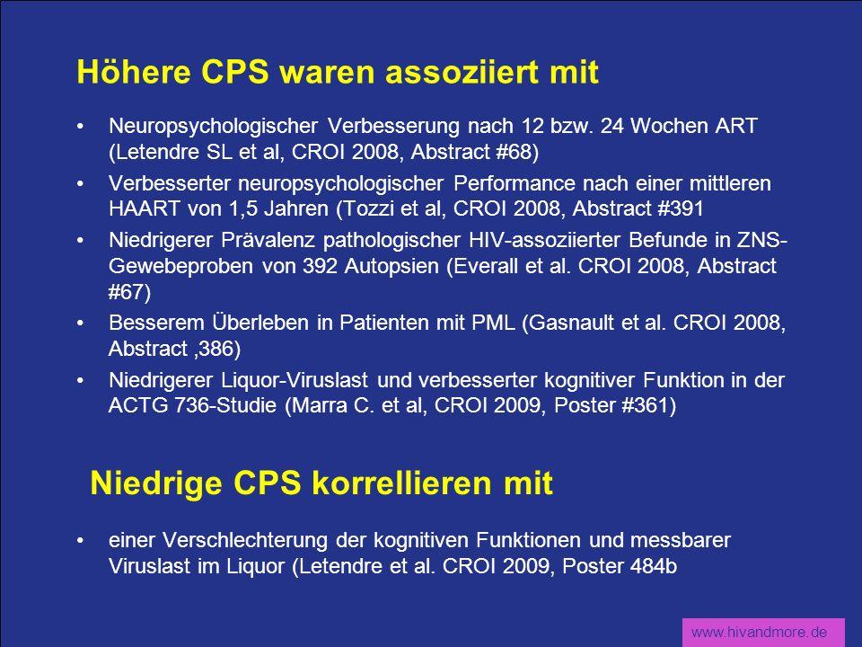 www.hivandmore.de Höhere CPS waren assoziiert mit Neuropsychologischer Verbesserung nach 12 bzw. 24 Wochen ART (Letendre SL et al, CROI 2008, Abstract