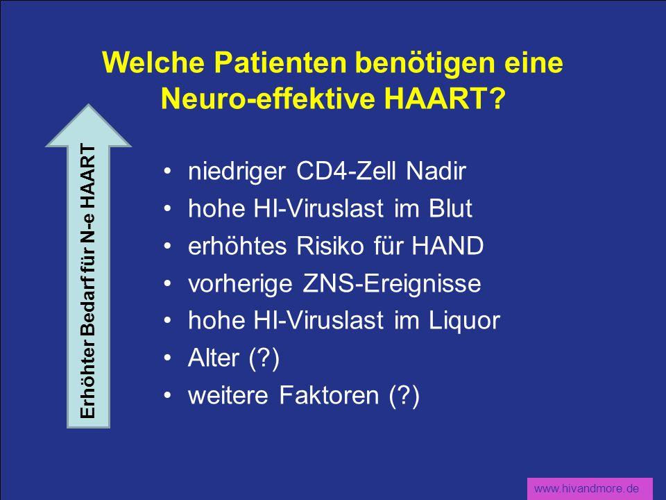 www.hivandmore.de Welche Patienten benötigen eine Neuro-effektive HAART? niedriger CD4-Zell Nadir hohe HI-Viruslast im Blut erhöhtes Risiko für HAND v