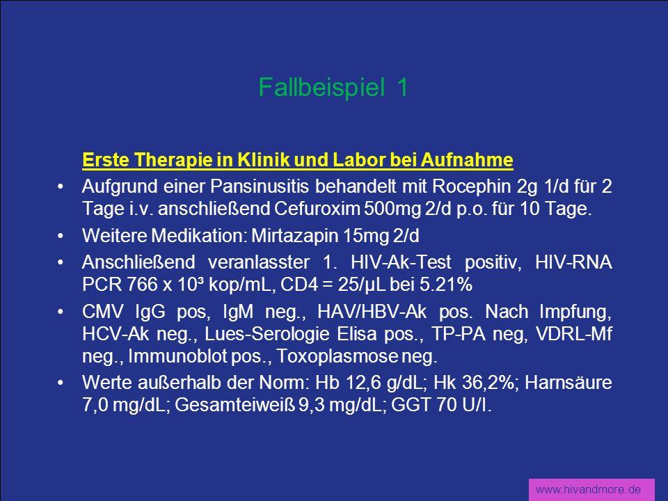 www.hivandmore.de Fallbeispiel 1 Erste Therapie in Klinik und Labor bei Aufnahme Aufgrund einer Pansinusitis behandelt mit Rocephin 2g 1/d für 2 Tage
