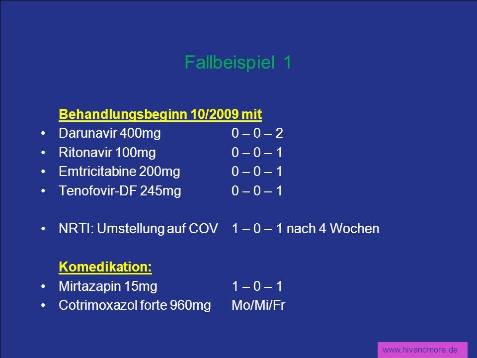 www.hivandmore.de Fallbeispiel 1 Behandlungsbeginn 10/2009 mit Darunavir 400mg0 – 0 – 2 Ritonavir 100mg0 – 0 – 1 Emtricitabine 200mg0 – 0 – 1 Tenofovi