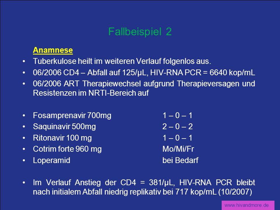 www.hivandmore.de Fallbeispiel 2 Anamnese Tuberkulose heilt im weiteren Verlauf folgenlos aus. 06/2006 CD4 – Abfall auf 125/µL, HIV-RNA PCR = 6640 kop