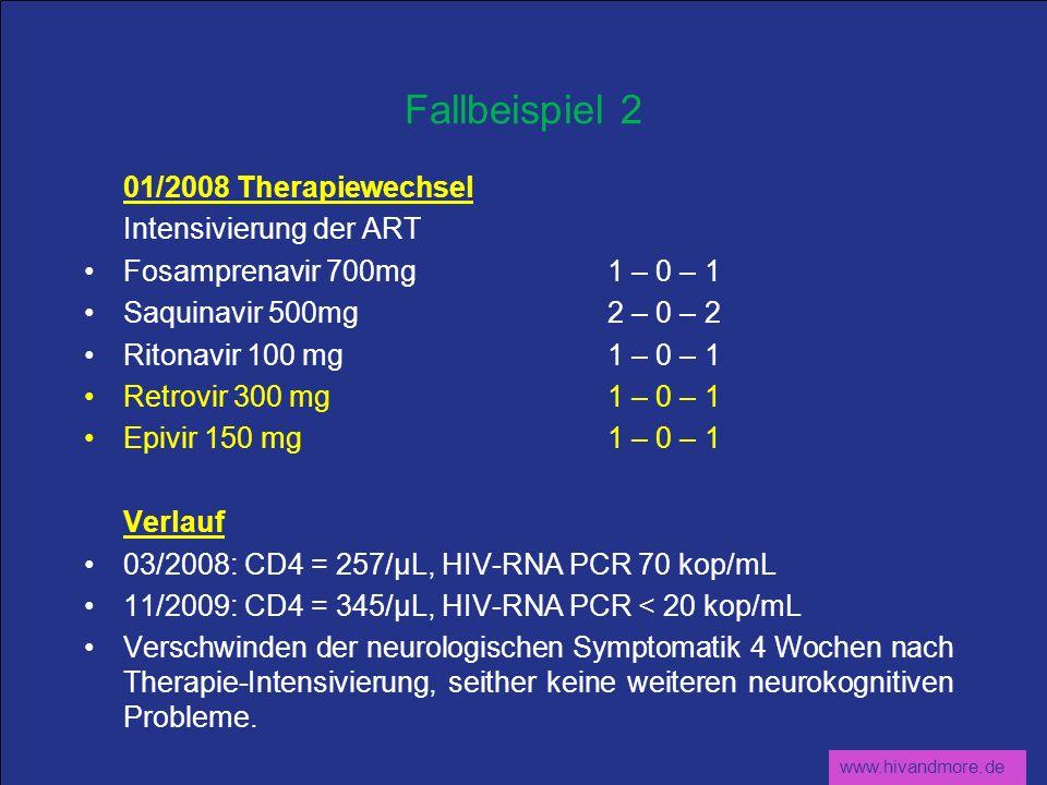 www.hivandmore.de Fallbeispiel 2 01/2008 Therapiewechsel Intensivierung der ART Fosamprenavir 700mg 1 – 0 – 1 Saquinavir 500mg2 – 0 – 2 Ritonavir 100