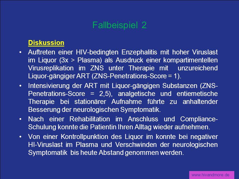 www.hivandmore.de Fallbeispiel 2 Diskussion Auftreten einer HIV-bedingten Enzephalitis mit hoher Viruslast im Liquor (3x > Plasma) als Ausdruck einer