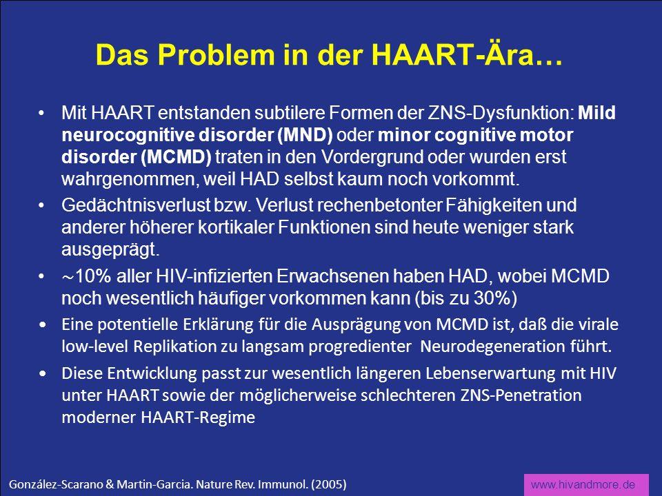www.hivandmore.de Das Problem in der HAART-Ära… Mit HAART entstanden subtilere Formen der ZNS-Dysfunktion: Mild neurocognitive disorder (MND) oder min