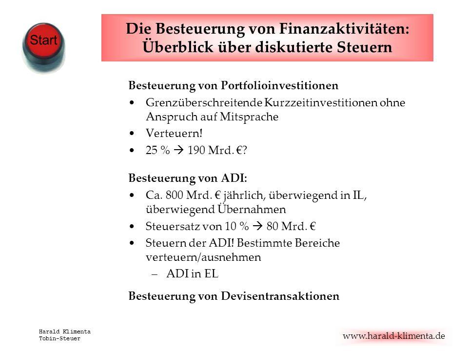 www.harald-klimenta.de Harald Klimenta Tobin-Steuer Die Besteuerung von Finanzaktivitäten: Überblick über diskutierte Steuern Besteuerung von Portfoli