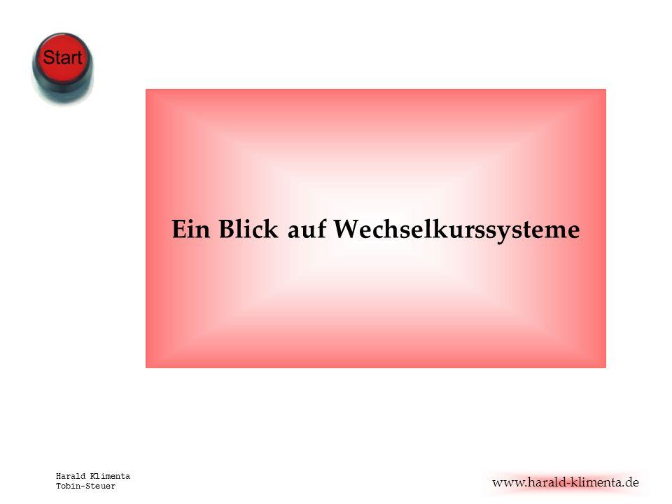 www.harald-klimenta.de Harald Klimenta Tobin-Steuer Ein Blick auf Wechselkurssysteme