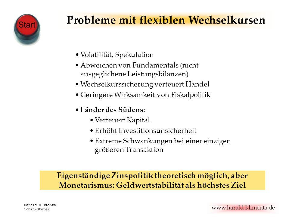 www.harald-klimenta.de Harald Klimenta Tobin-Steuer Probleme mit flexiblen Wechselkursen Volatilität, Spekulation Abweichen von Fundamentals (nicht au