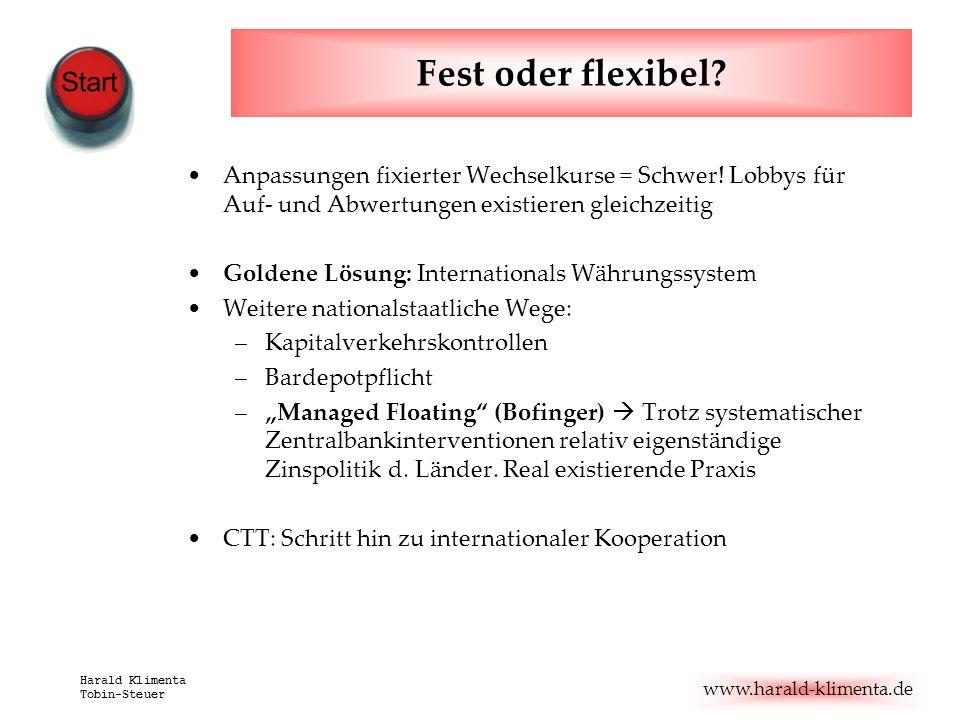 www.harald-klimenta.de Harald Klimenta Tobin-Steuer Fest oder flexibel? Anpassungen fixierter Wechselkurse = Schwer! Lobbys für Auf- und Abwertungen e