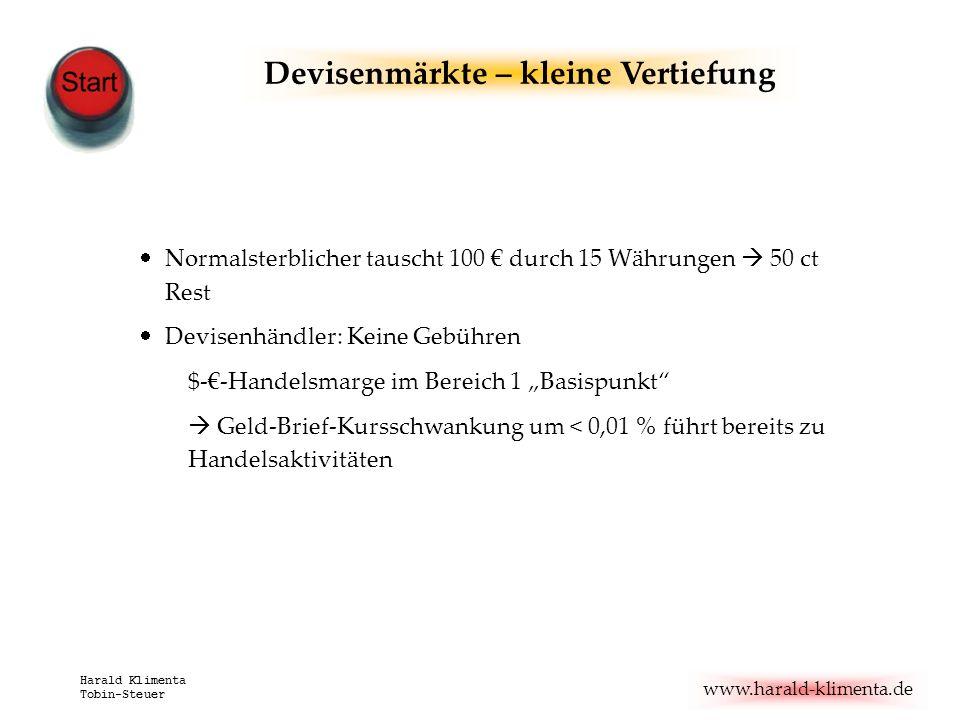 www.harald-klimenta.de Harald Klimenta Tobin-Steuer Devisenmärkte – kleine Vertiefung Normalsterblicher tauscht 100 durch 15 Währungen 50 ct Rest Devi